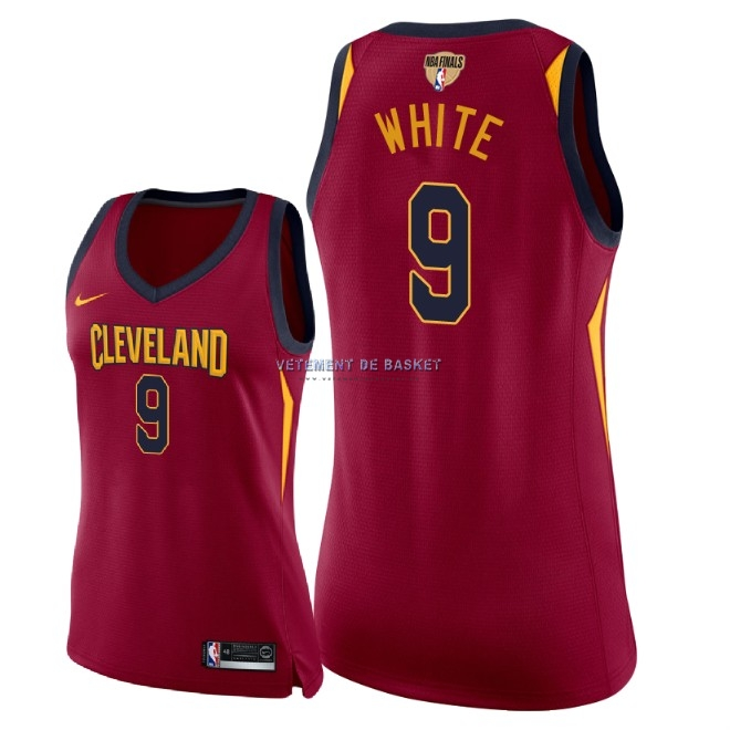 Maillot NBA Femme Cleveland Cavaliers 2018 Final Champions NO.9 Okaro White Rouge Icon Patch