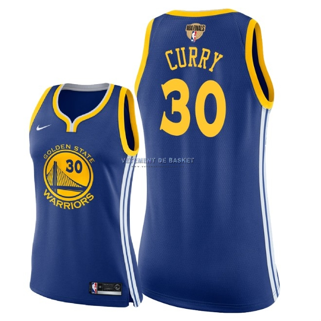 Maillot NBA Femme Golden State Warriors 2018 Final Champions NO.30 Stephen Curry Bleu Icon Patch