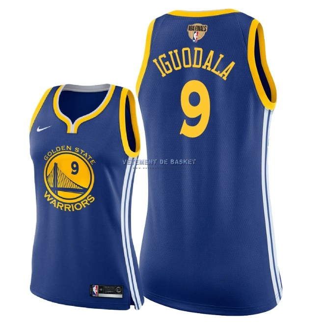 Maillot NBA Femme Golden State Warriors 2018 Final Champions NO.9 Andre Iguodala Bleu Icon Patch