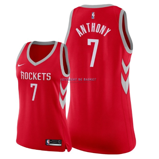 Maillot NBA Femme Houston Rockets NO.7 Carmelo Anthony Rouge Icon 2018