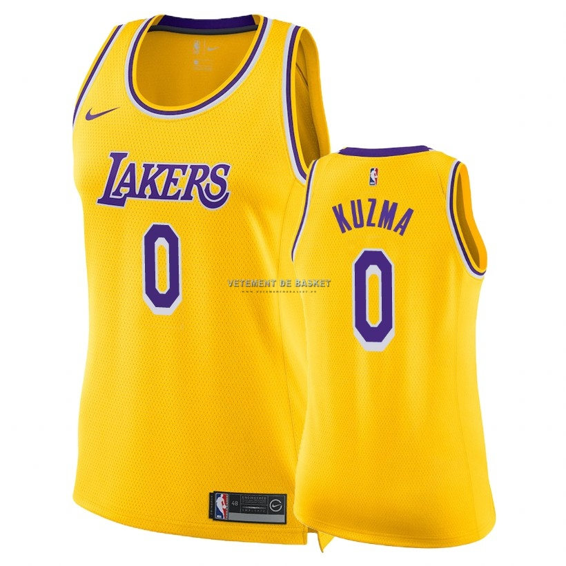 Maillot NBA Femme Los Angeles Lakers NO.0 Kyle Kuzma Jaune Icon 2018-19
