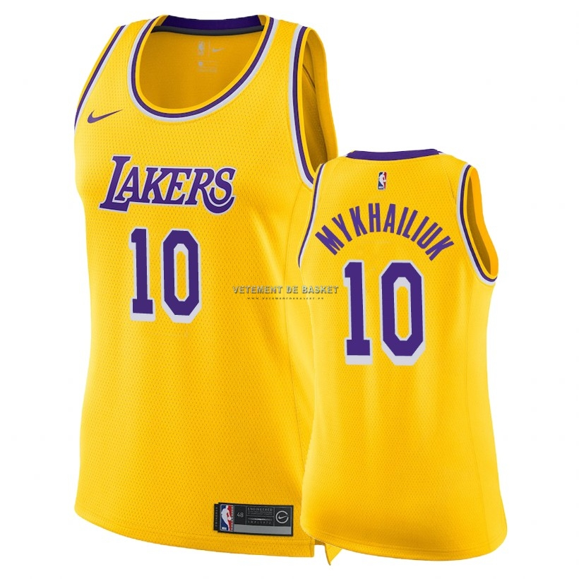 Maillot NBA Femme Los Angeles Lakers NO.10 Sviatoslav Mykhailiuk Jaune Icon 2018-19