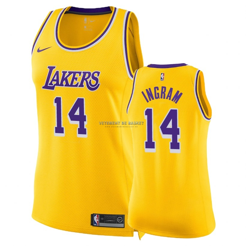 Maillot NBA Femme Los Angeles Lakers NO.14 Brandon Ingram Jaune Icon 2018-19