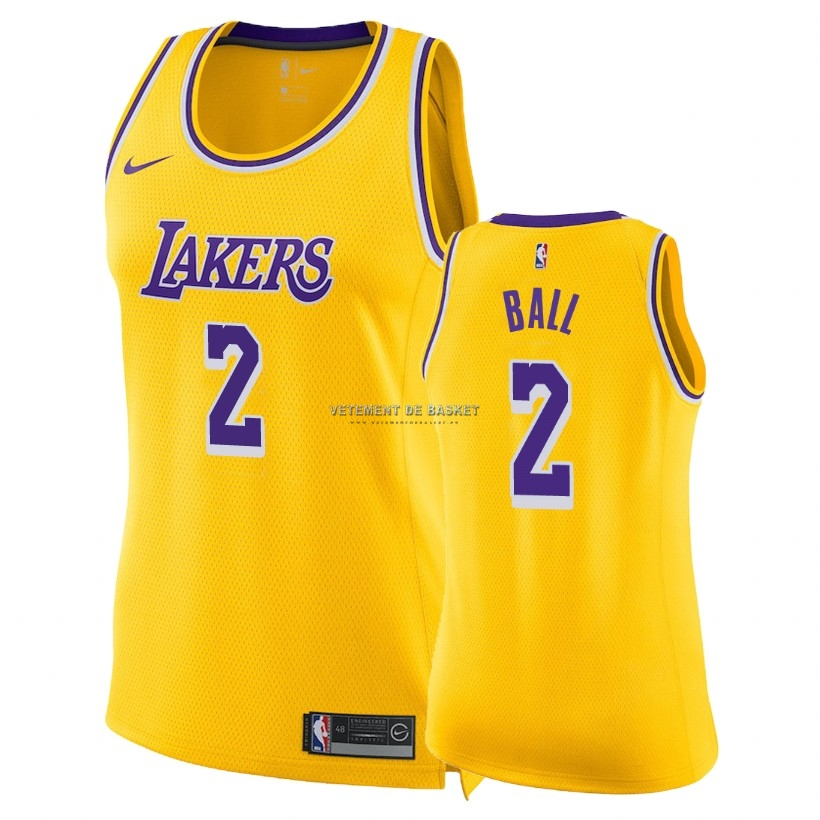 Maillot NBA Femme Los Angeles Lakers NO.2 Lonzo Ball Jaune Icon 2018-19