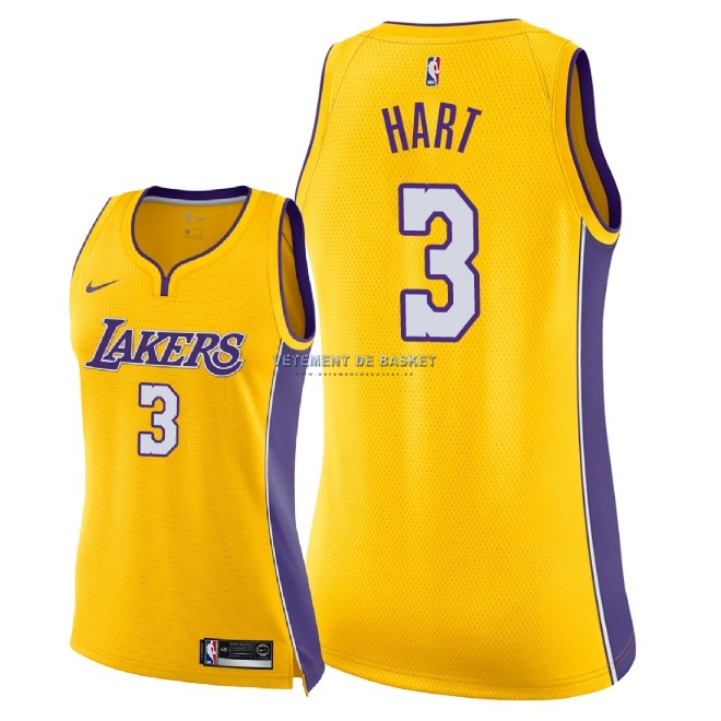 Maillot NBA Femme Los Angeles Lakers NO.3 Josh Hart Jaune Icon 2018