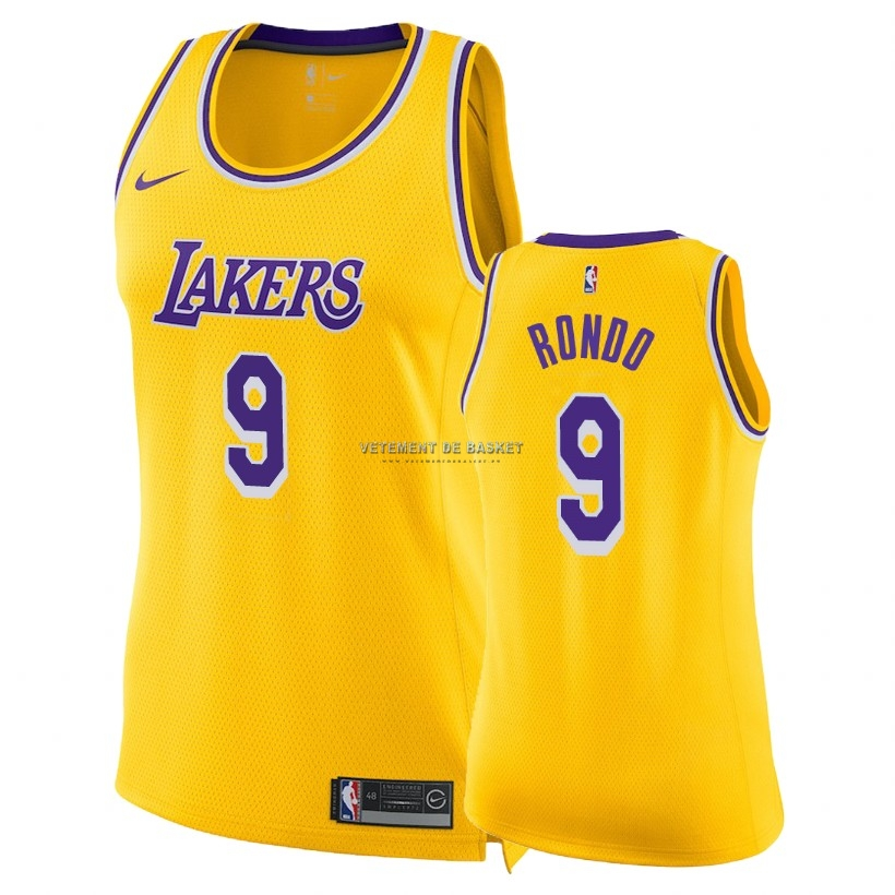 Maillot NBA Femme Los Angeles Lakers NO.9 Rajon Rondo Jaune Icon 2018-19