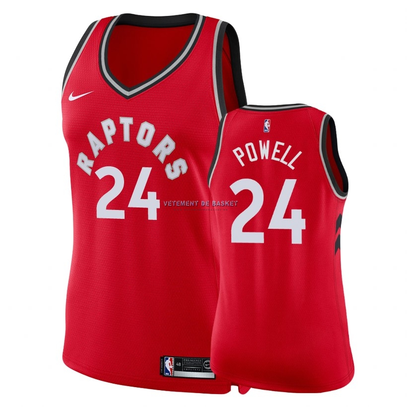 Maillot NBA Femme Toronto Raptors NO.24 Norman Powell Rouge Icon 2018