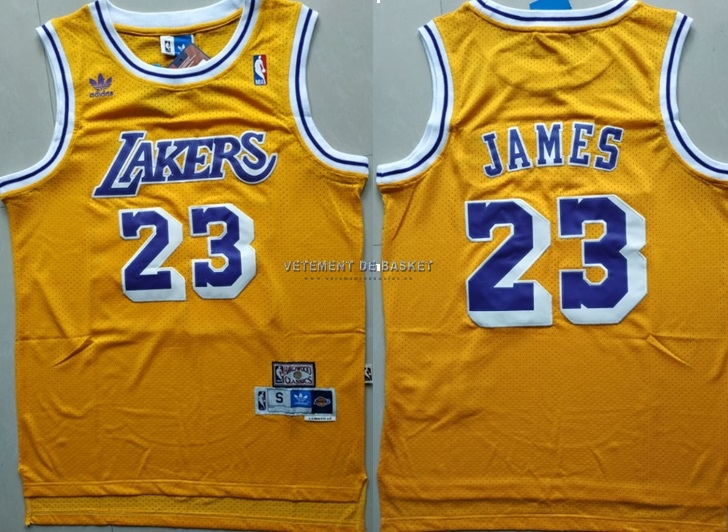 Maillot NBA Los Angeles Lakers NO.23 Lebron James Retro Jaune