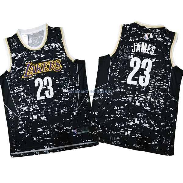 Maillot NBA Los Angeles Lakers Ville Lumières NO.23 LeBron James Noir