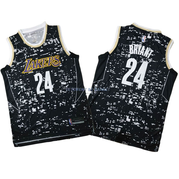 Maillot NBA Los Angeles Lakers Ville Lumières NO.24 Kobe Bryant Noir