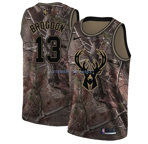 Maillot NBA Milwaukee Bucks NO.13 Malcolm Brogdon Camo Swingman Collection Realtree 2018
