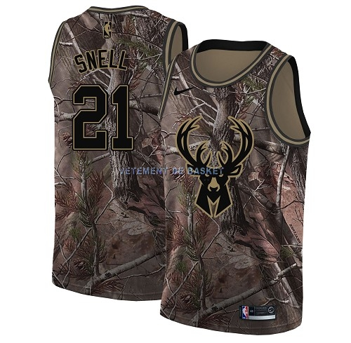 Maillot NBA Milwaukee Bucks NO.21 Tony Snell Camo Swingman Collection Realtree 2018