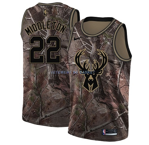 Maillot NBA Milwaukee Bucks NO.22 Khris Middleton Camo Swingman Collection Realtree 2018