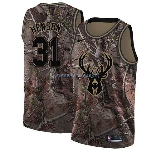 Maillot NBA Milwaukee Bucks NO.31 John Henson Camo Swingman Collection Realtree 2018