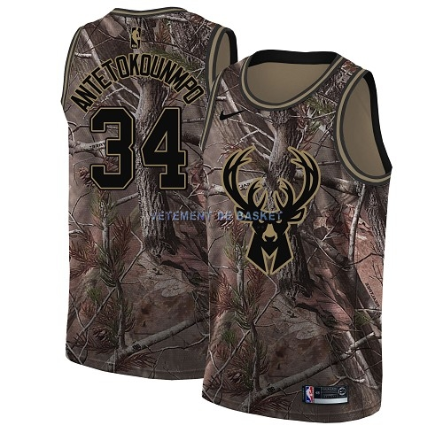 Maillot NBA Milwaukee Bucks NO.34 Giannis Antetokounmpo Camo Swingman Collection Realtree 2018