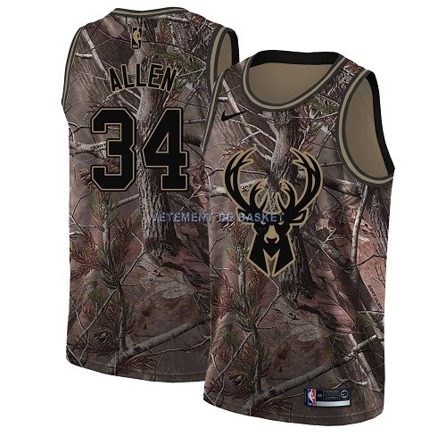Maillot NBA Milwaukee Bucks NO.34 Ray Allen Camo Swingman Collection Realtree 2018