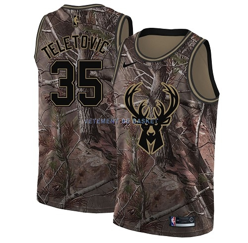 Maillot NBA Milwaukee Bucks NO.35 Mirza Teletovic Camo Swingman Collection Realtree 2018