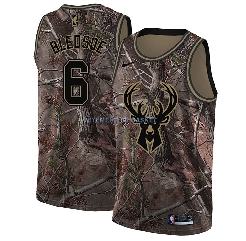 Maillot NBA Milwaukee Bucks NO.6 Eric Bledsoe Camo Swingman Collection Realtree 2018