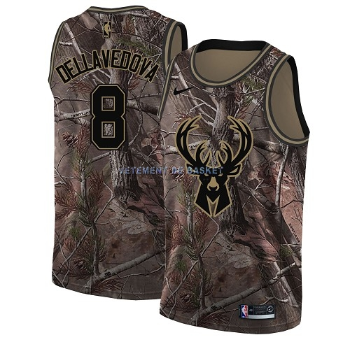 Maillot NBA Milwaukee Bucks NO.8 Matthew Dellavedova Camo Swingman Collection Realtree 2018