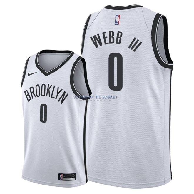 Maillot NBA Nike Brooklyn Nets NO.0 James Webb III Blanc Association 2018