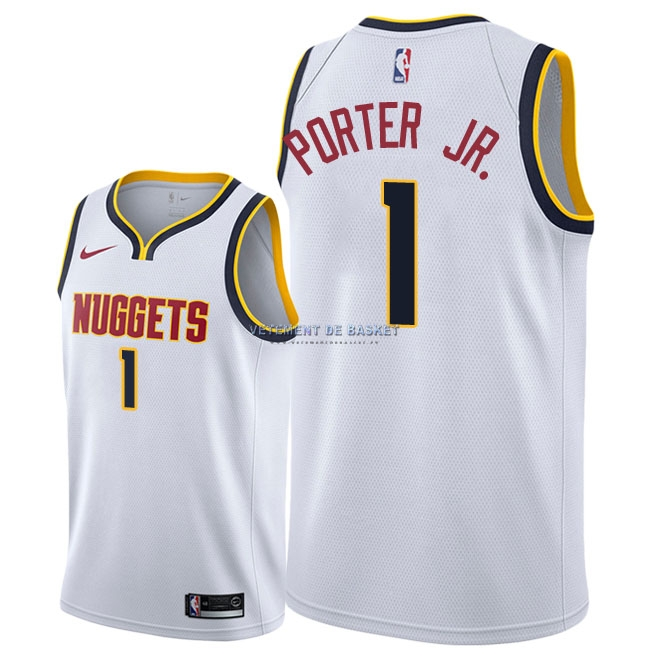 Maillot NBA Nike Denver Nuggets NO.1 Michael Porter Jr Blanc Association 2018-19