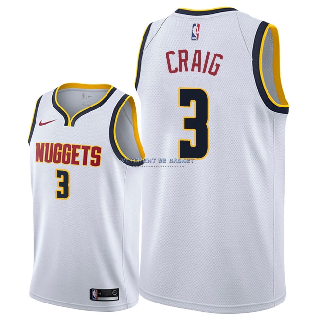 Maillot NBA Nike Denver Nuggets NO.3 Torrey Craig Blanc Association 2018-19