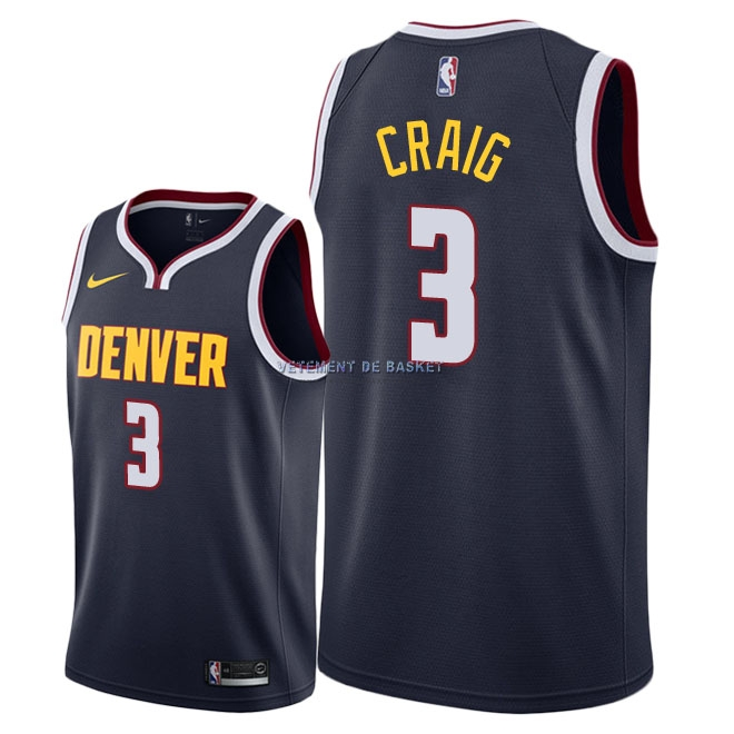 Maillot NBA Nike Denver Nuggets NO.3 Torrey Craig Marine Icon 2018-19