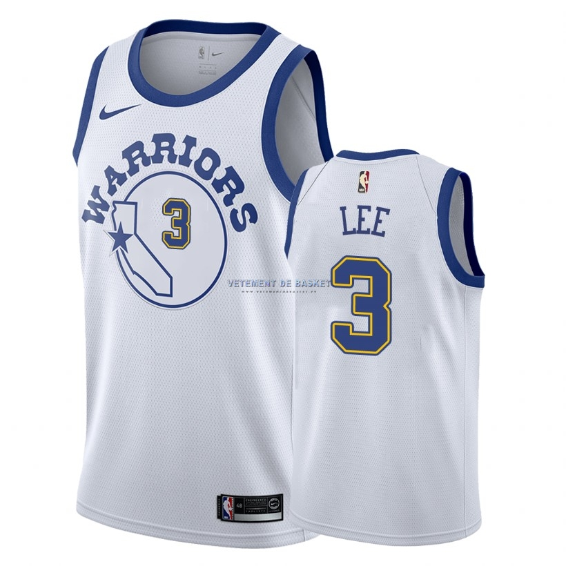 Maillot NBA Nike Golden State Warriors NO.3 Damion Lee Nike Retro Blanc 2018