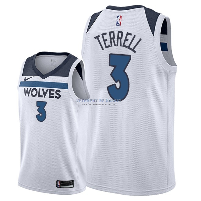 Maillot NBA Nike Minnesota Timberwolves NO.3 Jared Terrell Blanc Association 2018