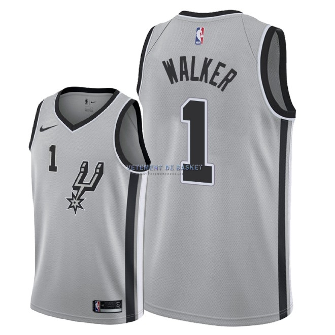 Maillot NBA Nike San Antonio Spurs NO.1 Lonnie Walker Gris Statement 2018