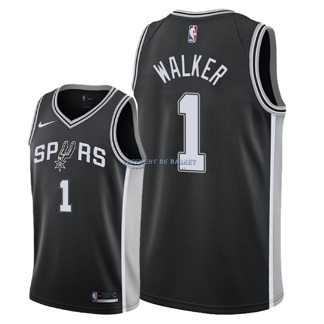 Maillot NBA Nike San Antonio Spurs NO.1 Lonnie Walker Noir Icon 2018