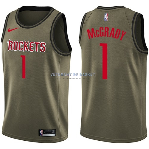 Maillot NBA Service De Salut Houston Rockets NO.1 Tracy McGrady Nike Armée verte 2018