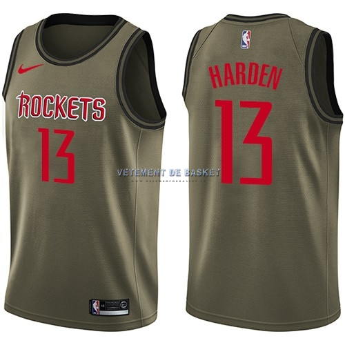 Maillot NBA Service De Salut Houston Rockets NO.13 James Harden Nike Armée verte 2018