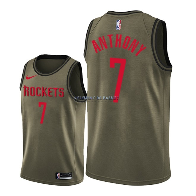 Maillot NBA Service De Salut Houston Rockets NO.7 Carmelo Anthony Nike Camo Militaire 2018