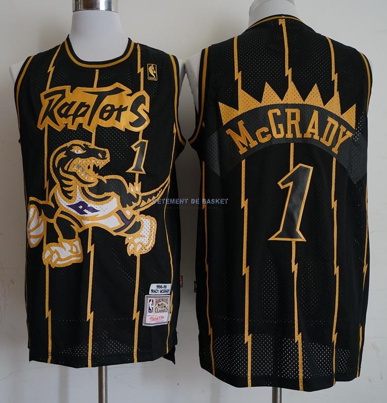 Maillot NBA Toronto Raptors NO.1 Tracy McGrady Retro Or Noir 1998-99