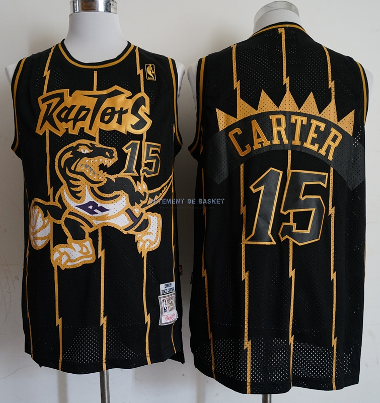 Maillot NBA Toronto Raptors NO.15 Vince Carter Retro Or Noir 1998-99