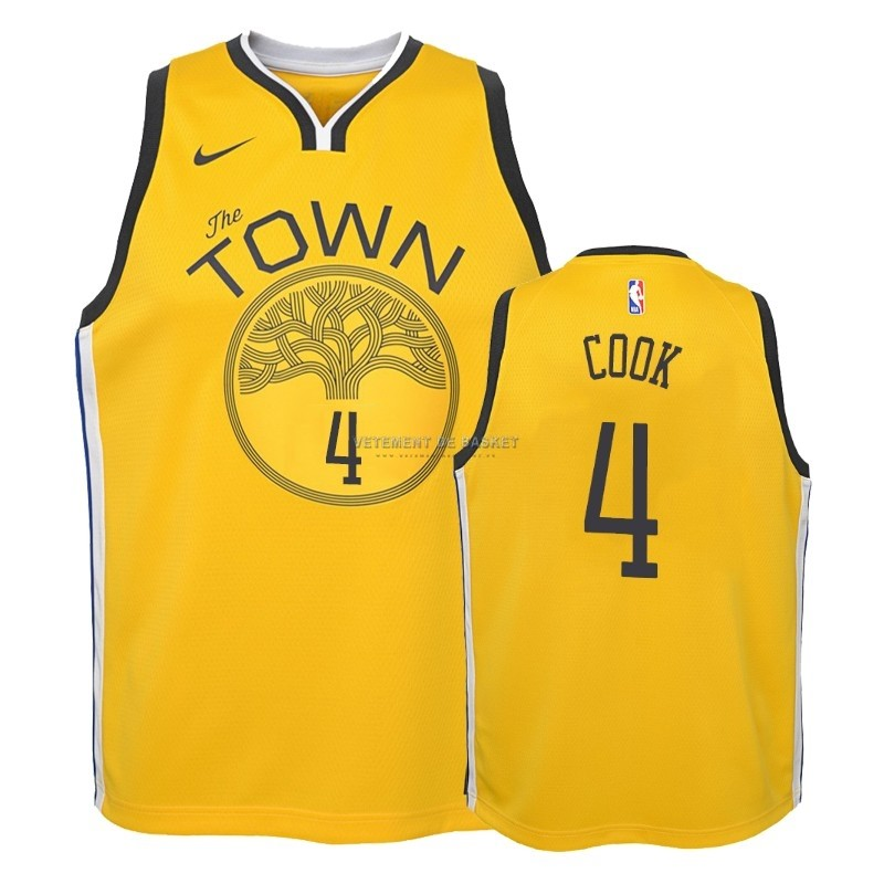 Maillot NBA Enfant Earned Edition Golden State Warriors NO.4 Quinn Cook Jaune 2018-19