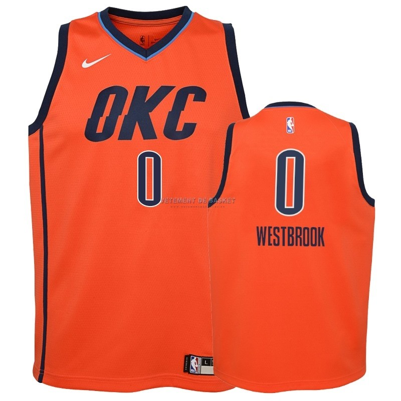 Maillot NBA Enfant Earned Edition Oklahoma City Thunder NO.0 Russell Westbrook Orange 2018-19