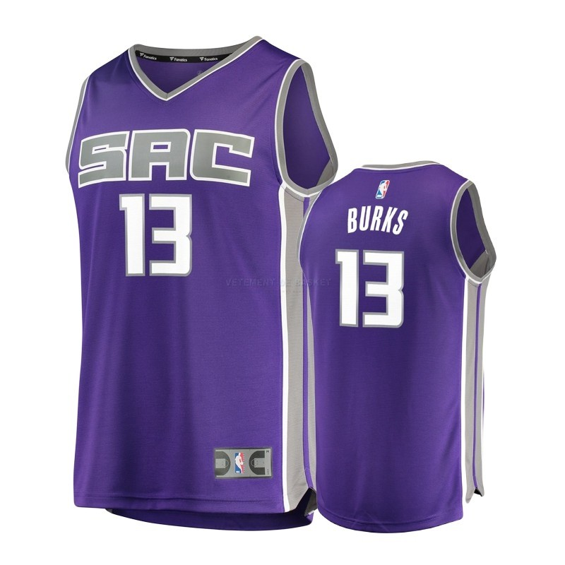 Maillot NBA Enfant Sacramento Kings NO.13 Alec Burks Pourpre Icon