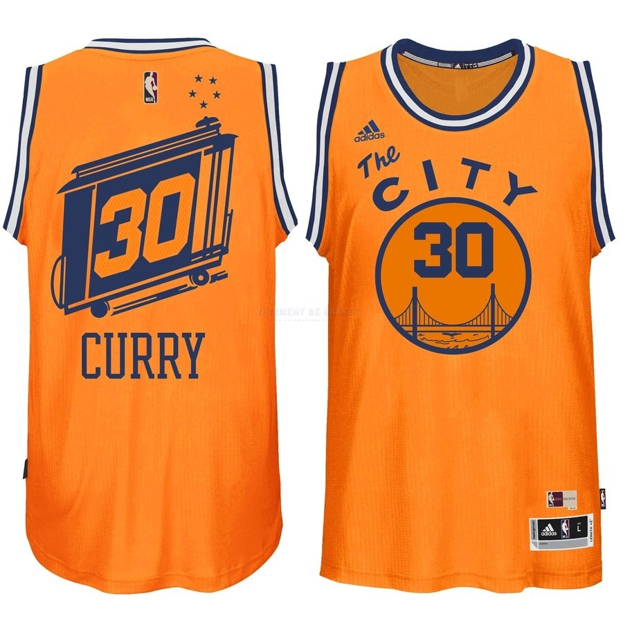 Maillot NBA Golden State Warriors NO.30 Stephen Curry Orange Hardwood Classics