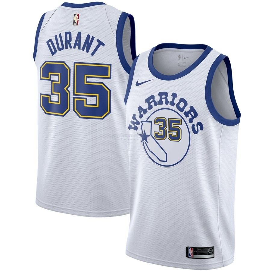 Maillot NBA Golden State Warriors NO.35 Kevin Durant Blanc Hardwood Classics
