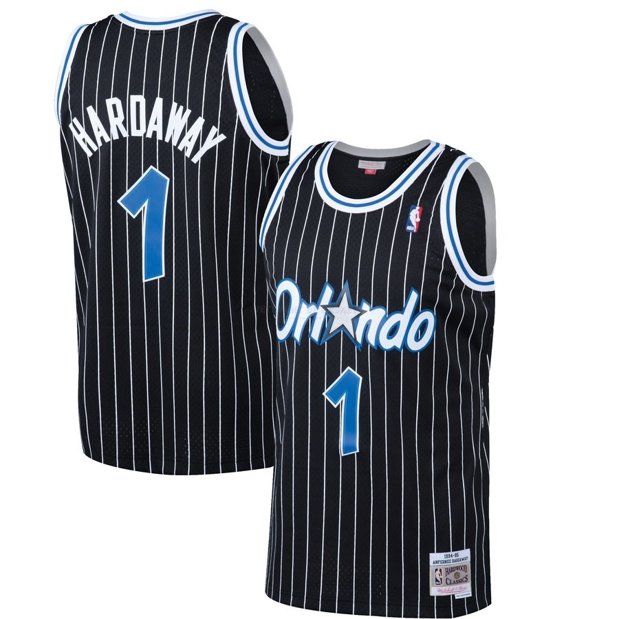 Maillot NBA Orlando Magic NO.1 Penny Hardaway Noir Hardwood Classics 1994-95