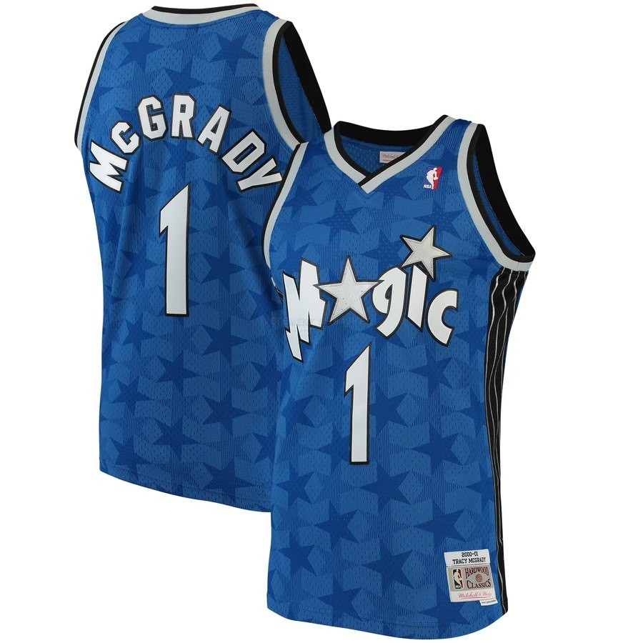 Maillot NBA Orlando Magic NO.1 Tracy Mcgrady Bleu Hardwood Classics 2001-02