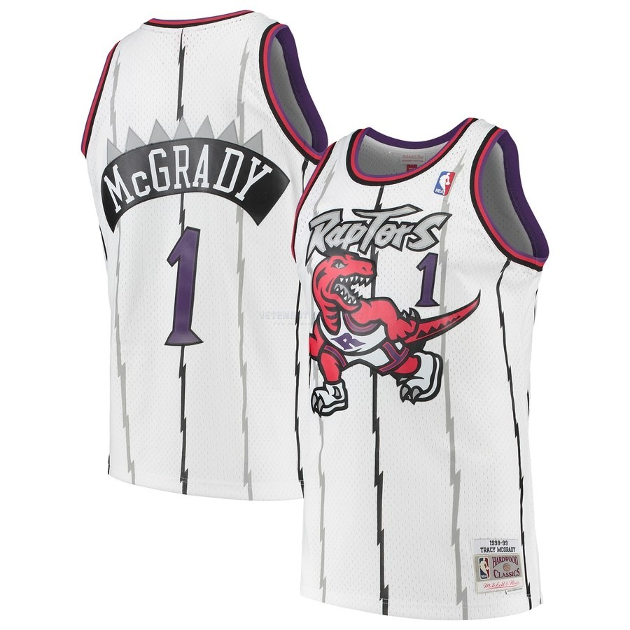 Maillot NBA Toronto Raptors NO.1 Tracy Mcgrady Blanc Hardwood Classic 1998-99