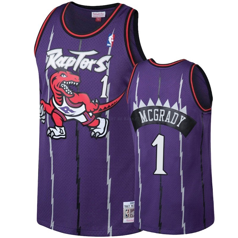 Maillot NBA Toronto Raptors NO.1 Tracy Mcgrady Pourpre Hardwood Classic 1998-99