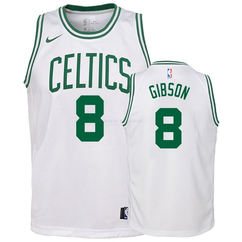 Maillot NBA Enfant Boston Celtics NO.8 Jonathan Gibson Blanc Association 2018-19