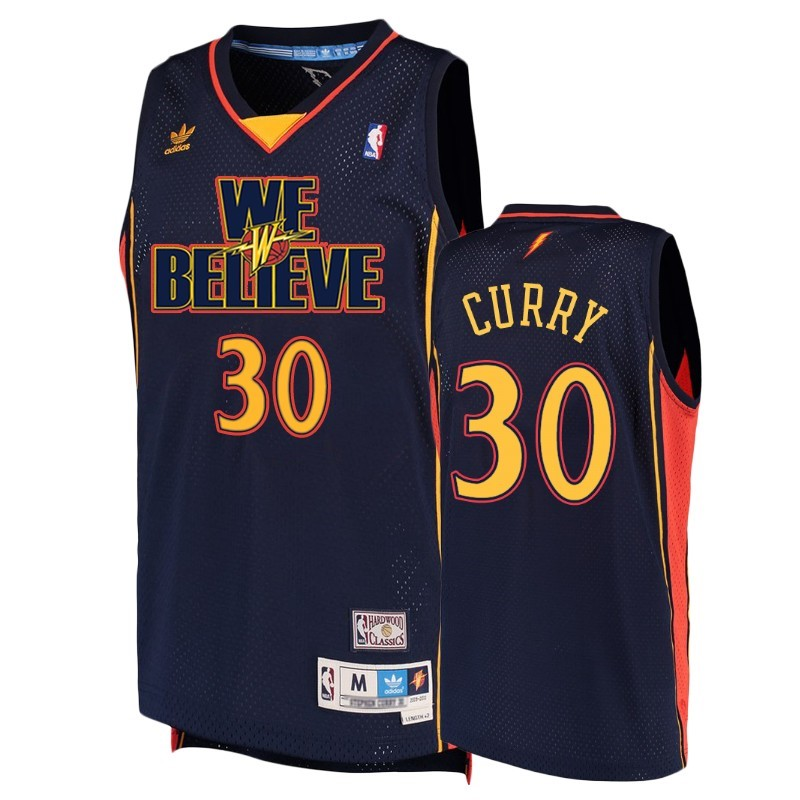 Maillot NBA Golden State Warriors NO.30 Stephen Curry Marine Hardwood Classics