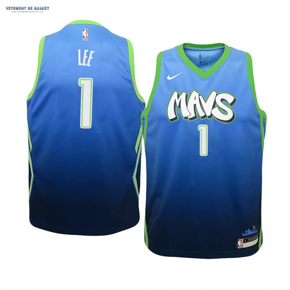 Maillot NBA Enfant Dallas Mavericks NO.1 Courtney Lee Nike Bleu Ville 2019-20