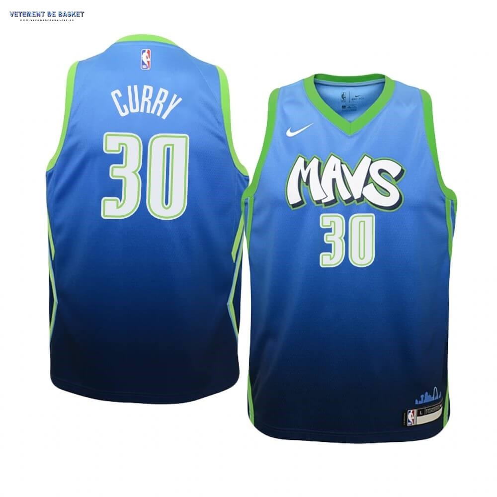 Maillot NBA Enfant Dallas Mavericks NO.30 Seth Curry Nike Bleu Ville 2019-20