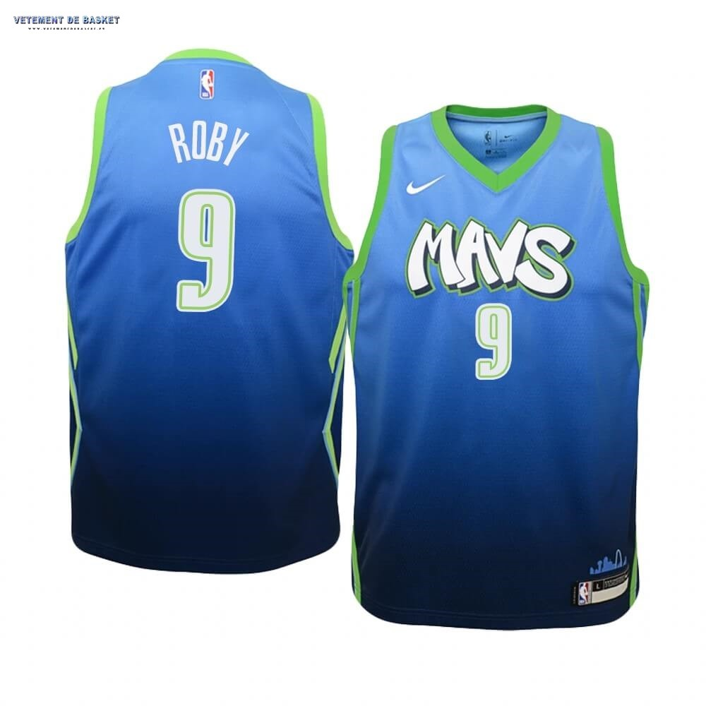 Maillot NBA Enfant Dallas Mavericks NO.9 Isaiah Roby Nike Bleu Ville 2019-20